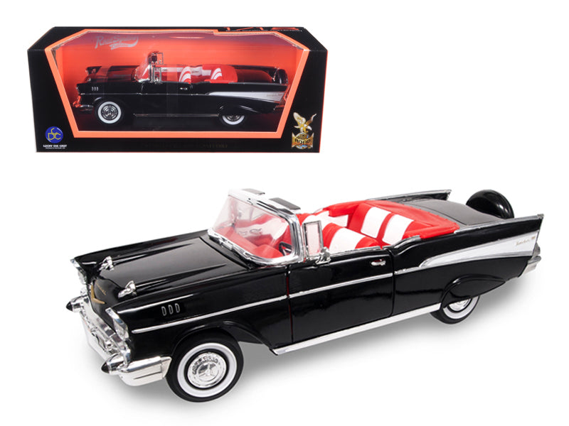 1957 Chevrolet Bel Air Convertible Black 1/18 Diecast Model Car by Road Signature - BeTovi&co