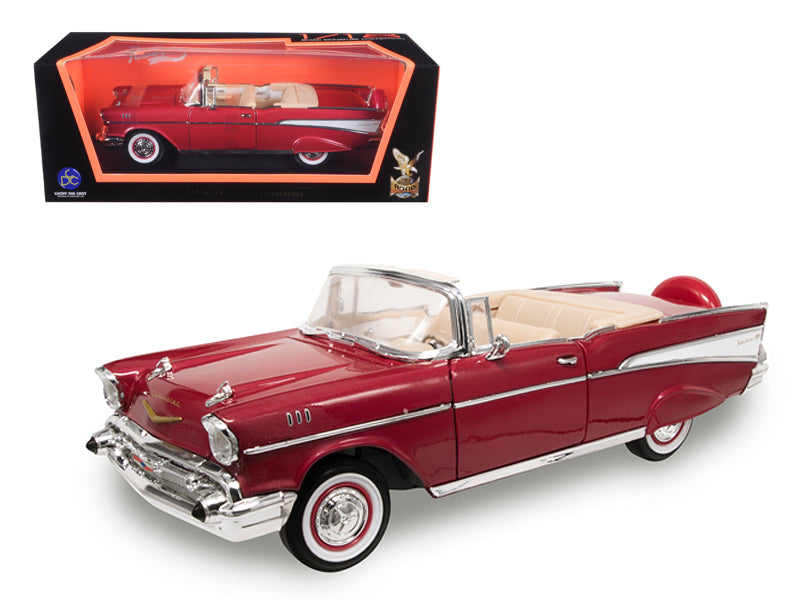 1957 Chevrolet Bel Air Convertible Red 1/18 Diecast Model Car by Road Signature - BeTovi&co
