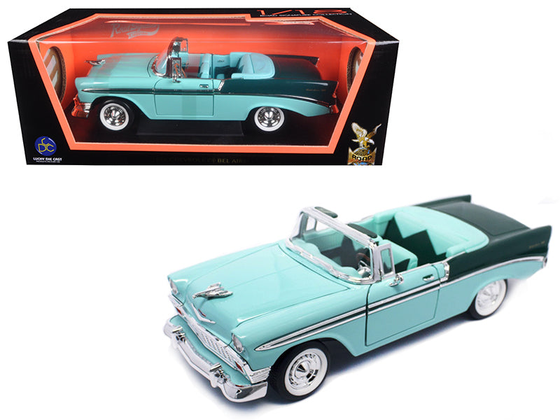 1956 Chevrolet Bel Air Convertible Green/Dark Green 1/18 Diecast Model Car by Road Signature - BeTovi&co