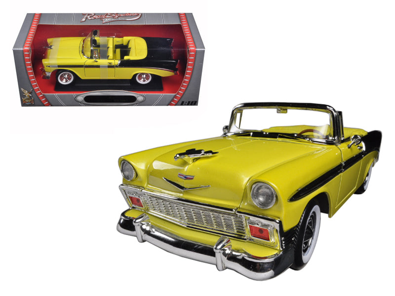 1956 Chevrolet Bel Air Convertible Yellow/Black 1/18 Diecast Car Model by Road Signature - BeTovi&co