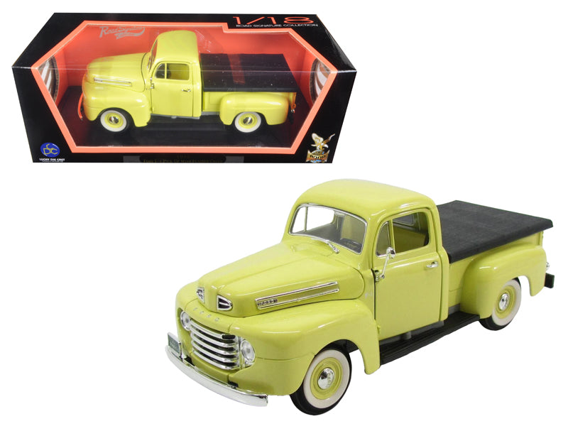 1948 Ford F-1 Pickup Truck with Flatbed Yellow 1/18 Diecast Model Car by Road Signature - BeTovi&co