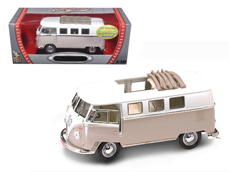 1962 Volkswagen Microbus With Retractable Roof Cream 1/18 Diecast Car by Road Signature - BeTovi&co