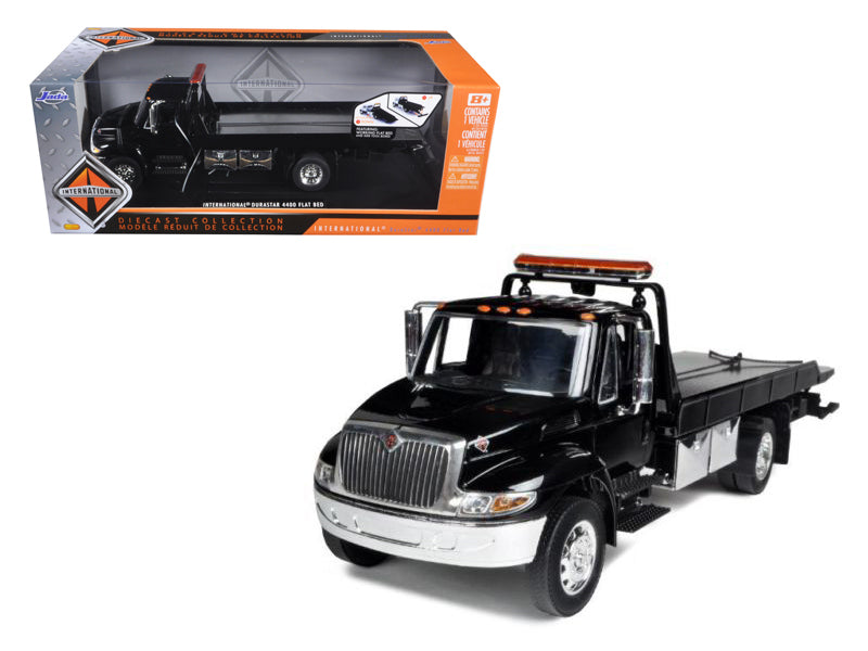 International Durastar 4400 Flat Bed Tow Truck Black with Chrome 1/24 - BeTovi&co