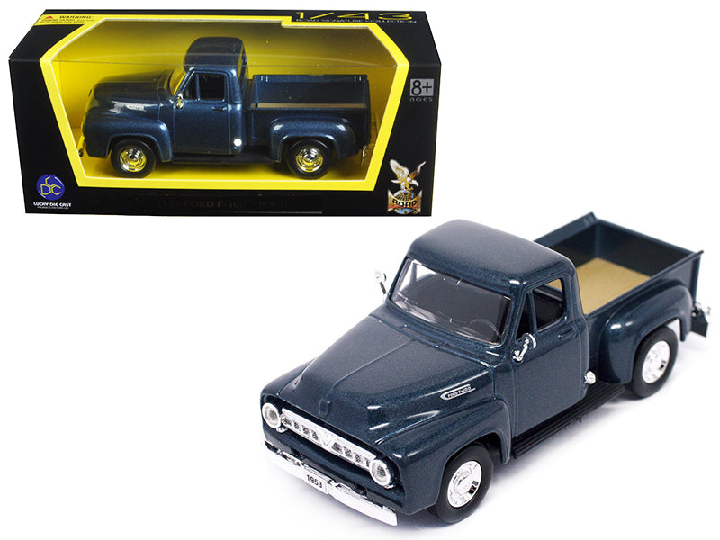 1953 Ford F-100 Pick Up Truck Dark Blue 1/43 Diecast Car Model by Road Signature - BeTovi&co