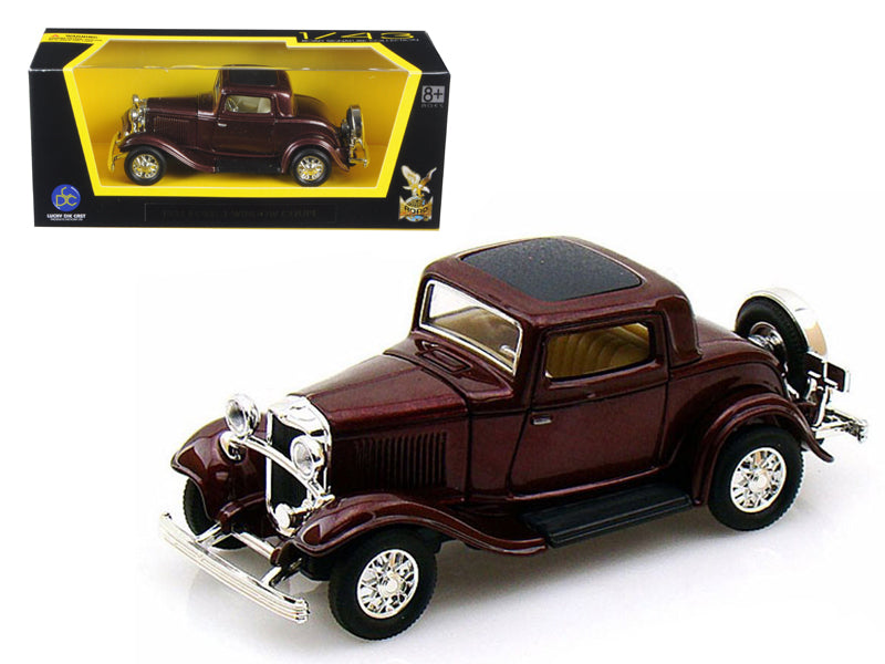 1932 Ford 3 Window Coupe Burgundy 1/43 Diecast Car Model by Road Signature - BeTovi&co