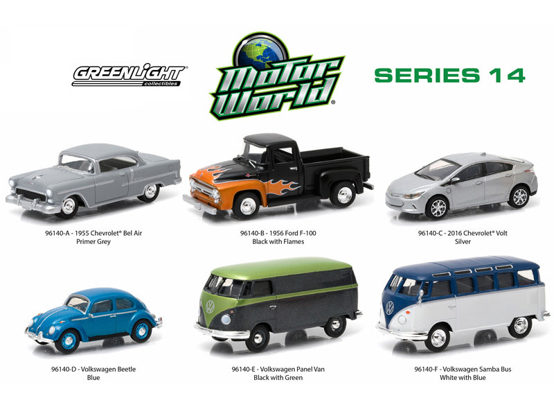 Motor World Series 14, 6pc Diecast Car Set 1/64 Diecast Model Cars by Greenlight - BeTovi&co