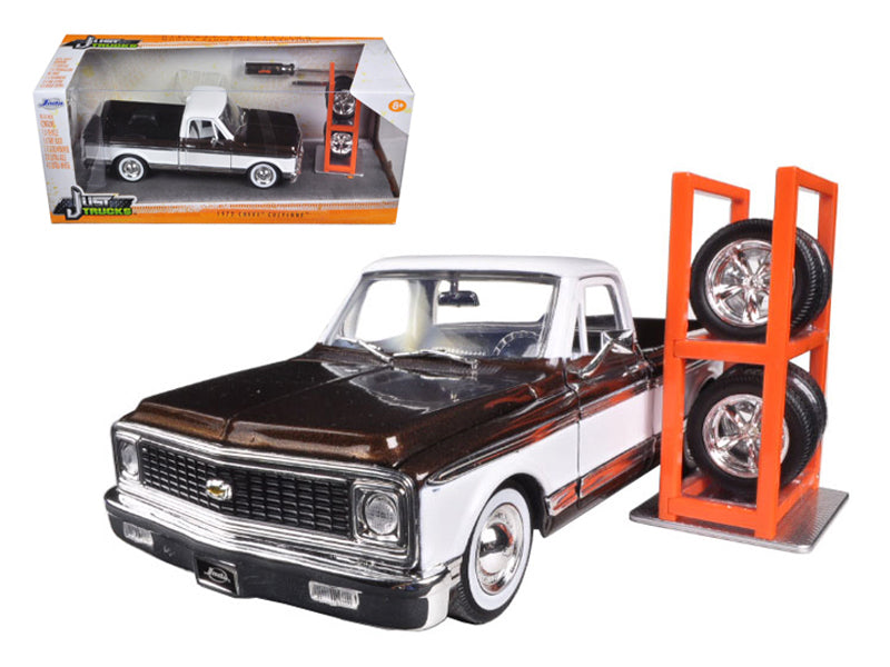 "1972 Chevrolet Cheyenne Pickup Truck Brown \Just Trucks"" with Extra Wheels 1/24 Diecast Model Car by Jada"" - BeTovi&co"