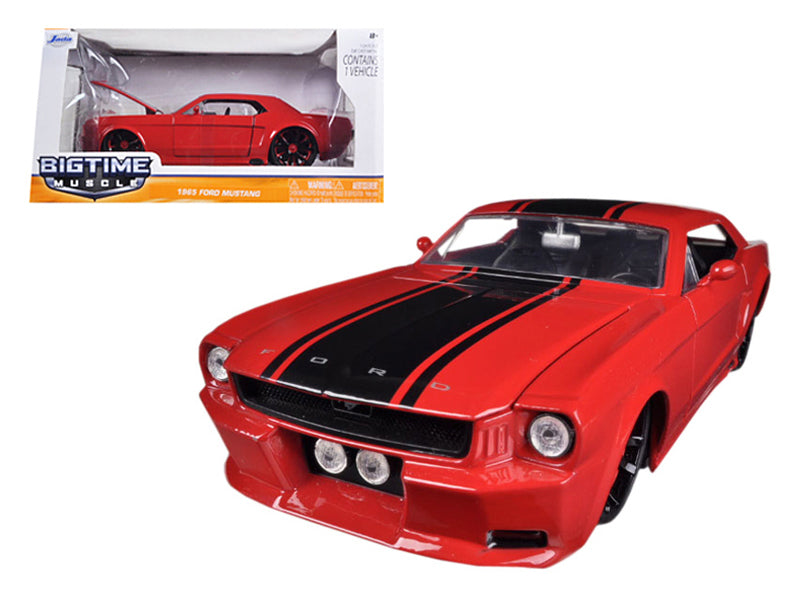 1965 Ford Mustang Red With Black Stripes 1/24 Diecast Car Model by Jada - BeTovi&co