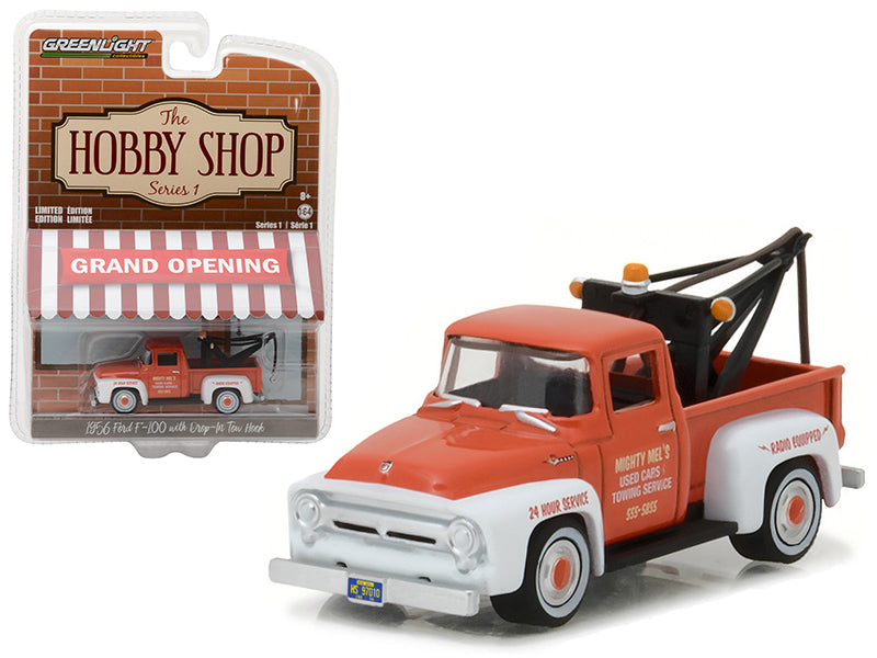 1956 Ford F-100 Red and White with Drop-in Tow Hook 'The Hobby Shop' Series 1 1/64 Diecast Model Car by Greenlight - BeTovi&co