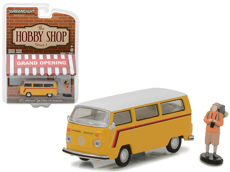 1975 Volkswagen Type 2 Bus Yellow with Backpacker 'The Hobby Shop' Series 1 1/64 Diecast Model Car by Greenlight - BeTovi&co