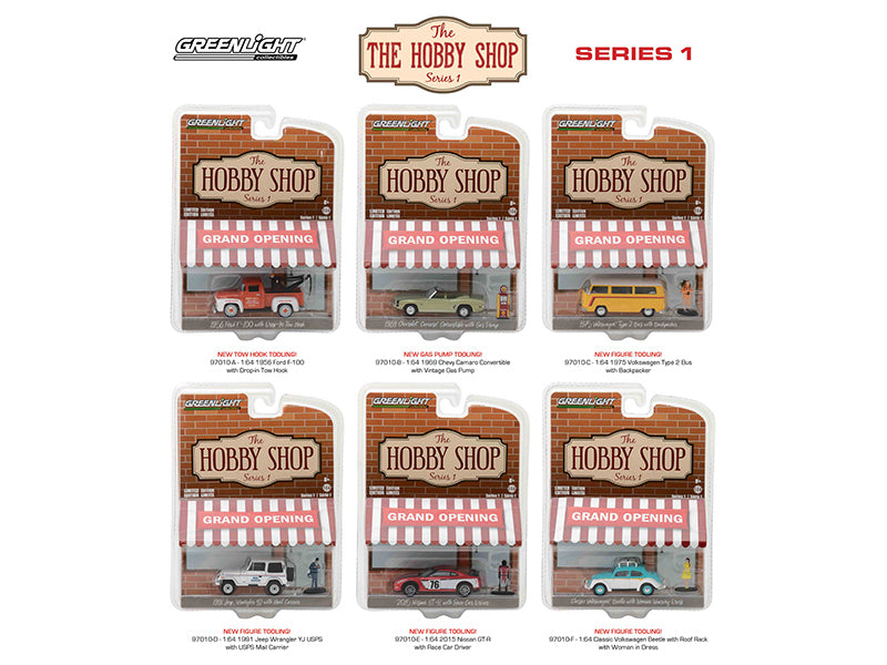 The Hobby Shop Series 1, 6pc Diecast Car Set 1/64 Diecast Model Cars by Greenlight - BeTovi&co