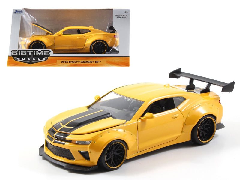 2016 Chevrolet Camaro SS Wide Body with GT Wing Metallic Yellow With Black Stripes 1/24 Diecast Model Car  by Jada - BeTovi&co