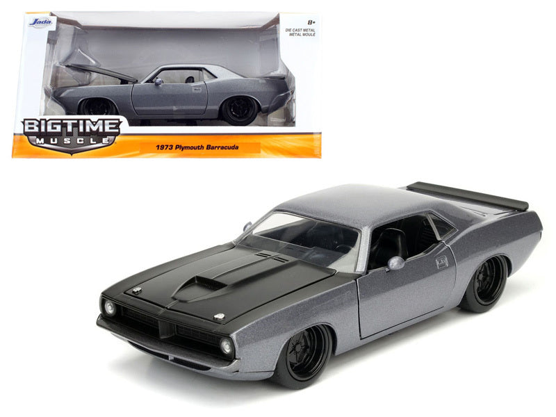 1973 Plymouth Barracuda Grey with Matt Black 1/24 Diecast Model Car by Jada - BeTovi&co