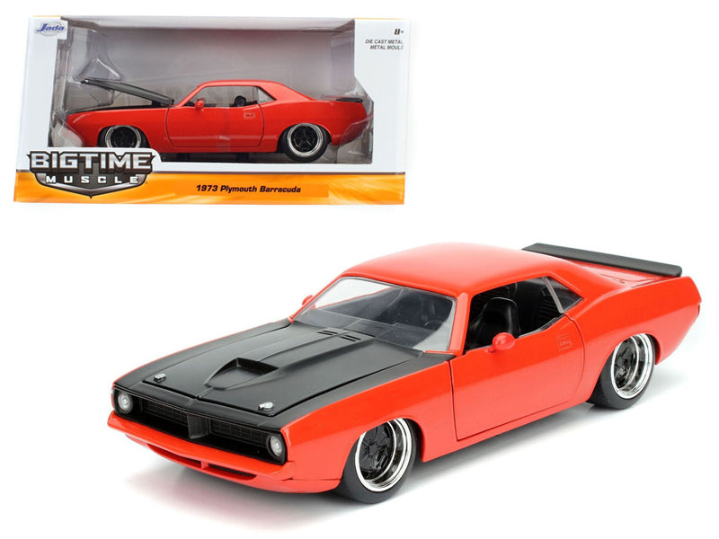 1973 Plymouth Barracuda Orange with Matt Black 1/24 Diecast Model Car by Jada - BeTovi&co