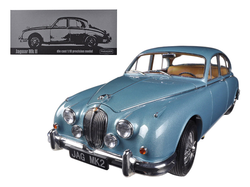 1962 Jaguar Mark 2 3.8 Opalescent Blue Limited to 3000pc 1/18 Diecast Car Model by Paragon - BeTovi&co