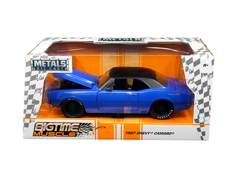 1967 Chevrolet Camaro Blue 'Big Time Muscle' 1/24 Diecast Model Car by Jada
