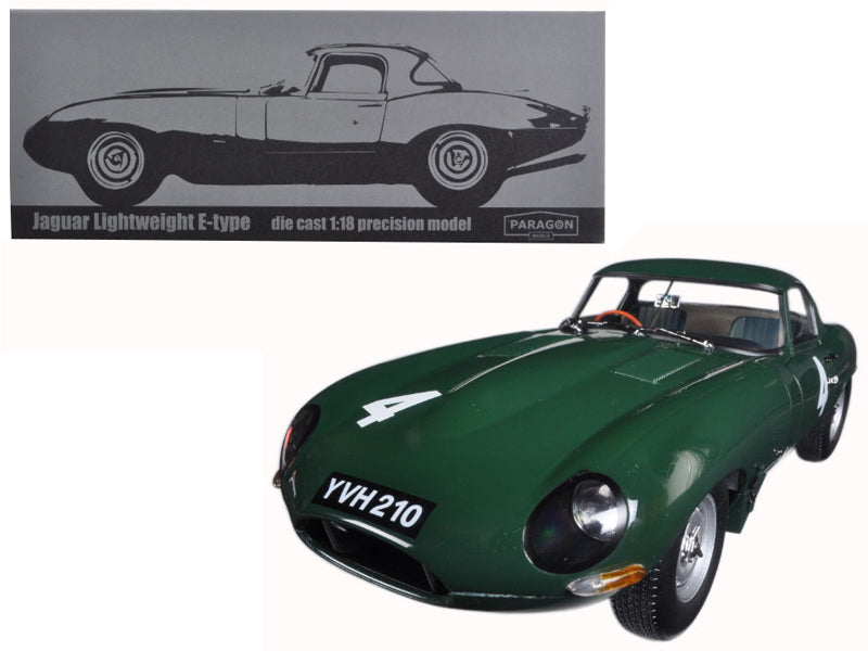 Jaguar Lightweight E-Type Sutcliffe YVH210 #4 Green 1/18 Diecast Model Car by Paragon - BeTovi&co