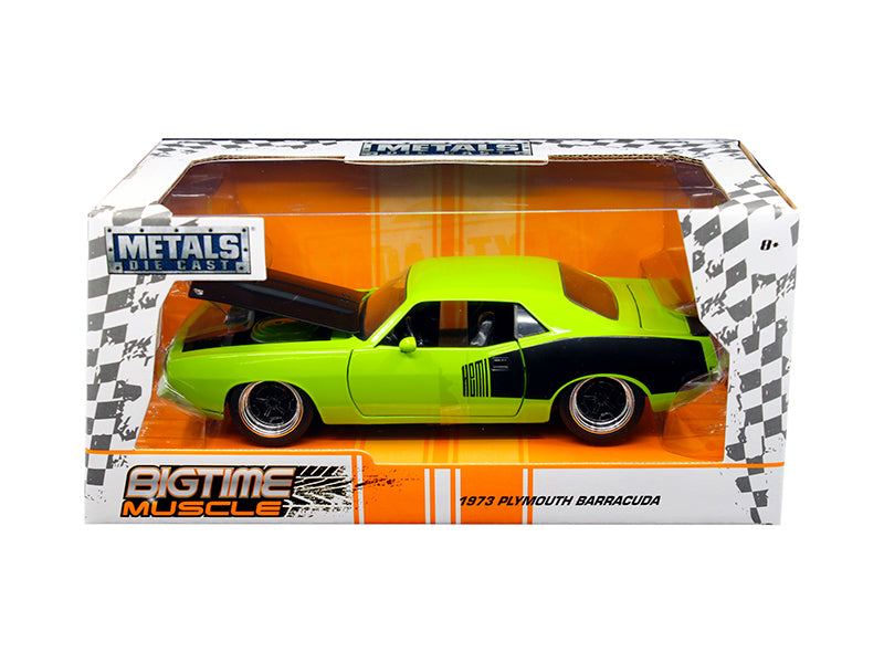 1973 Plymouth Barracuda Green 'Big Time Muscle' 1/24 Diecast Model Car by Jada