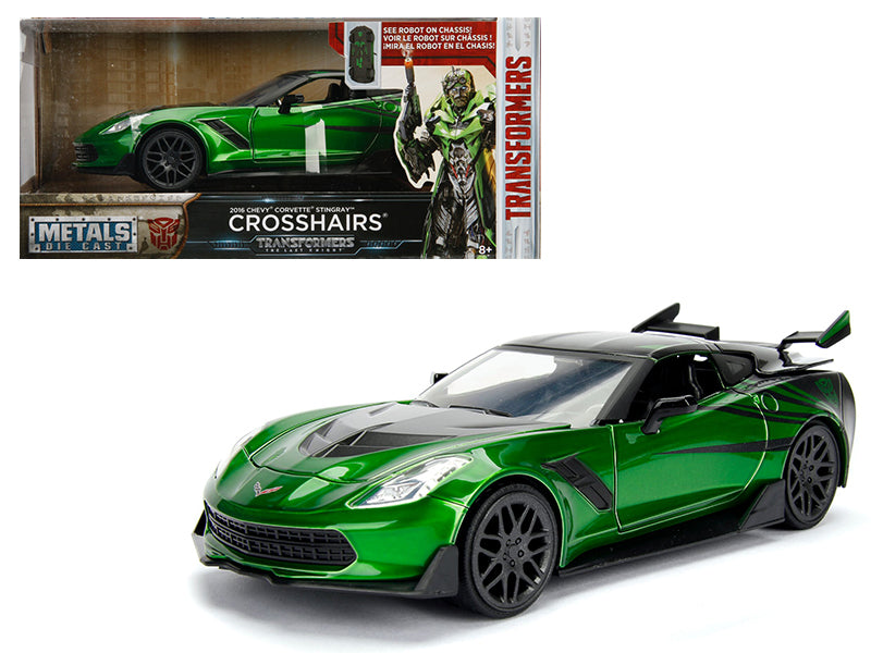 2016 Chevrolet Corvette Crosshairs Green From 'Transformers' Movie 1/24 Diecast Model Car by Jada Metals - BeTovi&co
