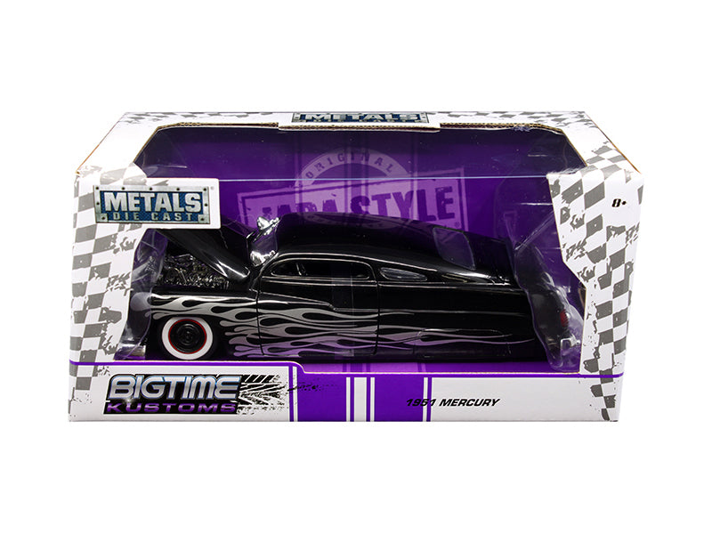 1951 Mercury Black with Flames 'Big Time Kustoms' 1/24 Diecast Model Car by Jada