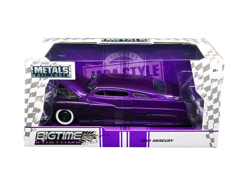 1951 Mercury Purple with Flames 'Big Time Kustoms' 1/24 Diecast Model Car by Jada