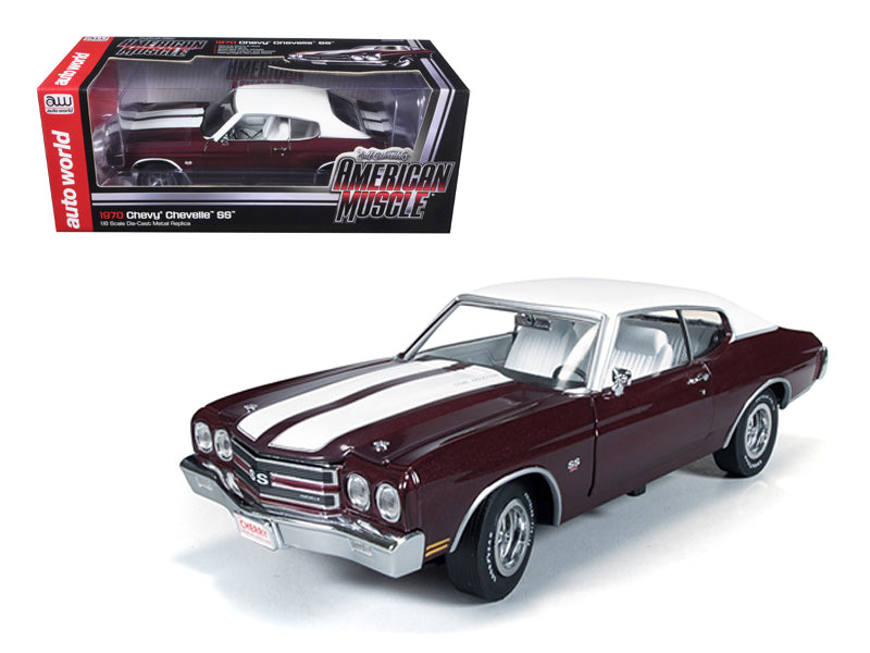 1970 Chevrolet Chevelle SS 454 Black Cherry Limited to 1500pc Worldwide 1/18 Diecast Car Model by Autoworld - BeTovi&co