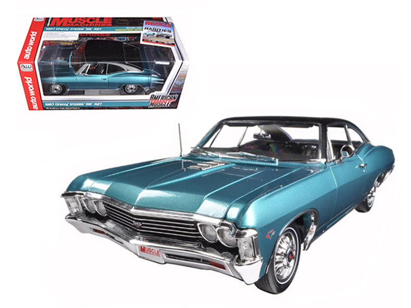 "1967 Chevrolet Impala SS 427 Emerald Turquoise from Cover of \Hemmings"" Magazine Limited to 1254pc. 1/18 by Autoworld "" - BeTovi&co"