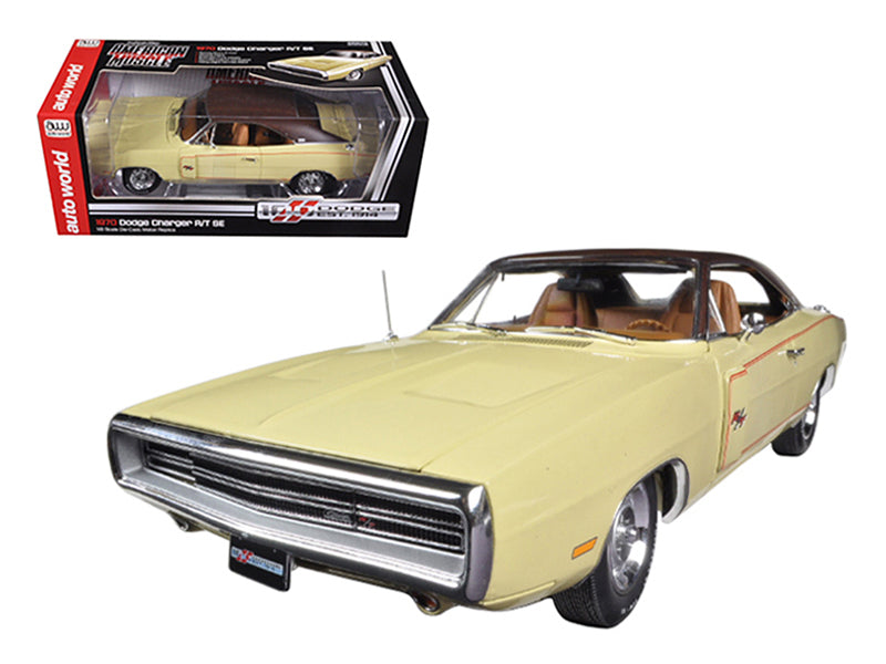 1970 Dodge Charger RT/SE 440 Six Pack Cream Dodge 100th Anniversary Limited to 1250pc 1/18 Diecast Car Model by Autoworld - BeTovi&co