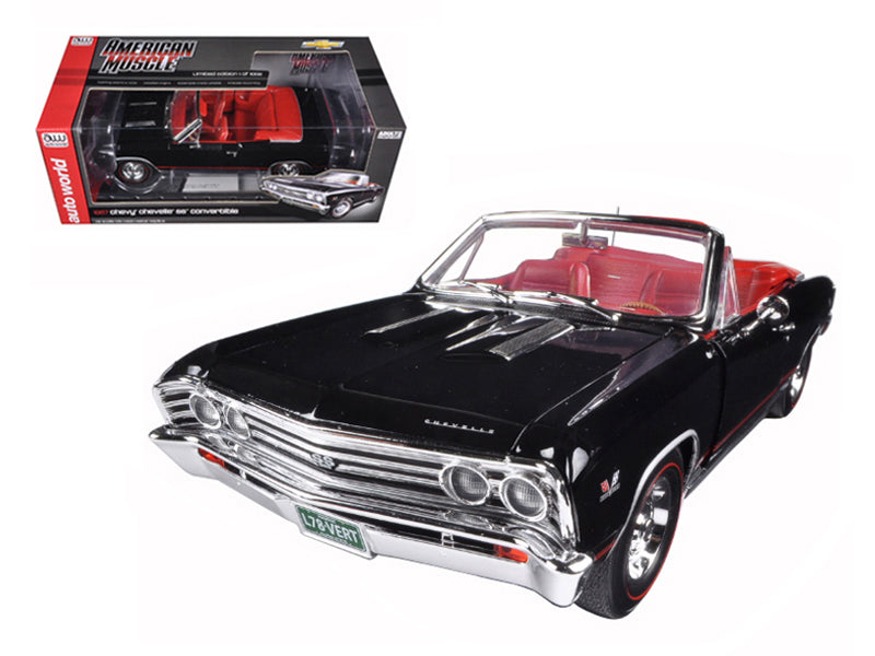 1967 Chevrolet Chevelle SS 396 L-78 Convertible Black 50th Anniversary Limited Edition 1002pc 1/18 Diecast Model Car by Autoworld - BeTovi&co