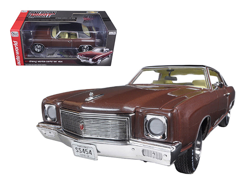 1971 Chevrolet Monte Carlo SS 454 Rosewood Metallic Limited Edition to 1002pcs 1/18 Diecast Model Car by Autoworld - BeTovi&co