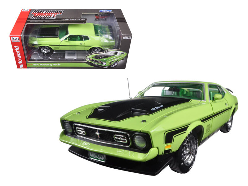 1971 Ford Mustang Mach 1 429 Ram Air Grabber Lime with Green Interior Limited Edition 1/18 Diecast Model Car by Autoworld - BeTovi&co