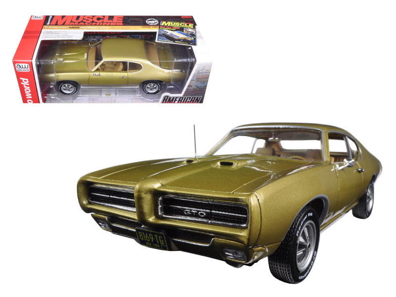 "1969 Pontiac GTO Hardtop Antique Gold \Hemmings Muscle Magazine"" Limited Edition to 1002pc 1/18 Diecast Model Car by Autoworld"" - BeTovi&co"