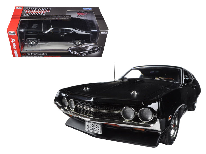 1970 Ford Torino Cobra Jet 429 Raven Black Limited Edition to 1002pcs 1/18 Diecast Model Car by Autoworld - BeTovi&co
