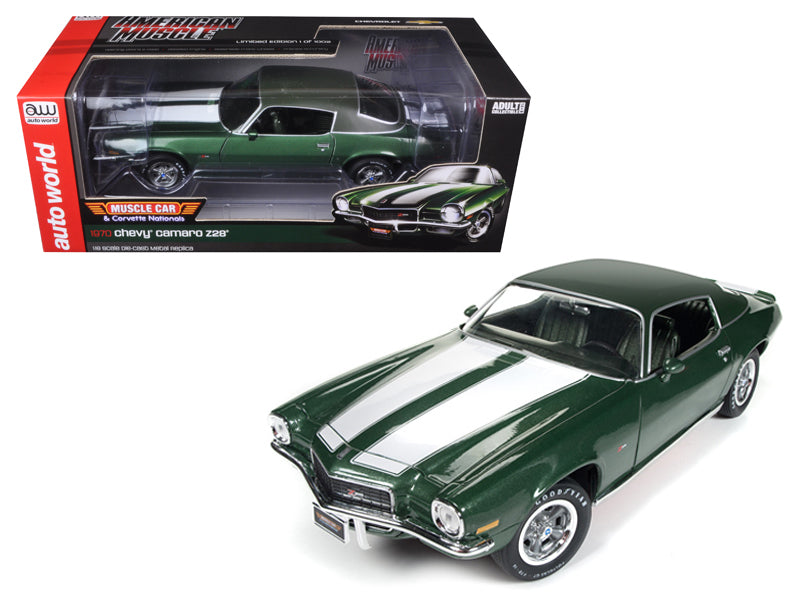 1970 Chevrolet Camaro Z28 Green MCACN + 50th Anniversary Limited Edition to 1002pcs 1/18 Diecast Model Car by Autoworld - BeTovi&co