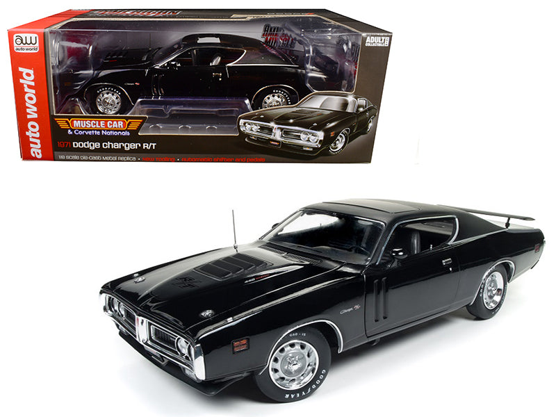 1971 Dodge Charger R/T TX9 Black on Black Hardtop with Sunroof MCACN Limited Edition to 1002pc 1/18 Diecast Model Car by Autoworld - BeTovi&co