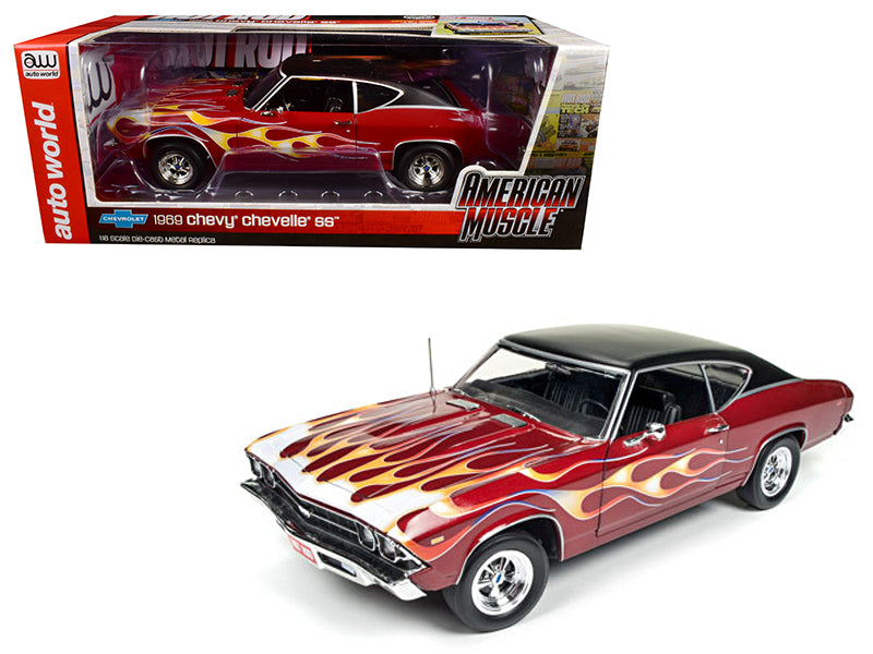 1969 Chevrolet Chevelle SS 396 with Flames from 'Hot Rod' Magazine Limited Edition to 1002pc 1/18 Diecast Model Car by Autoworld - BeTovi&co