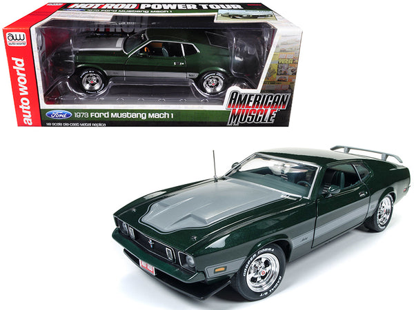 Ford Mustang 1973 Mach 1 Dark Green with Silver Stripes