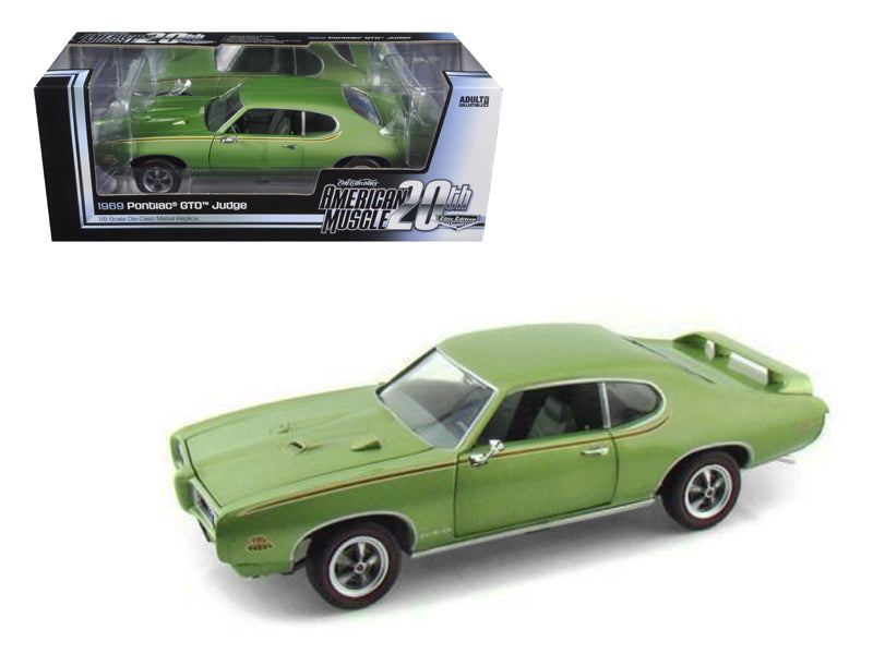 1969 Pontiac GTO Judge Green American Muscle 20th Anniversary Edition 1/18 Diecast Model Car by Autoworld - BeTovi&co