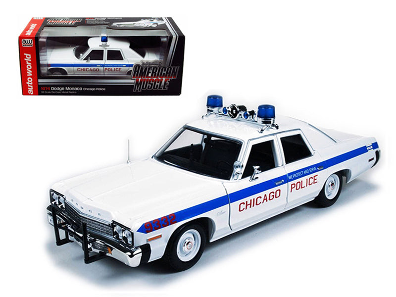 1974 Dodge Monaco Chicago Department Police Car Limited to 2000pc 1/18 Diecast Model Car by Autoworld - BeTovi&co