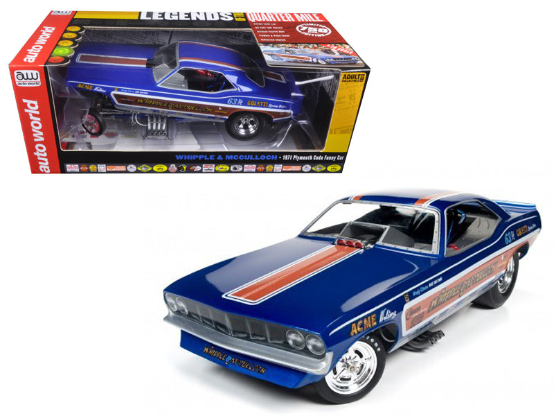 Whipple & McCullough 1971 Plymouth Cuda Funny Car (Ed McCullough) Limited Edition to 750pcs 1/18 Model Car by Autoworld - BeTovi&co