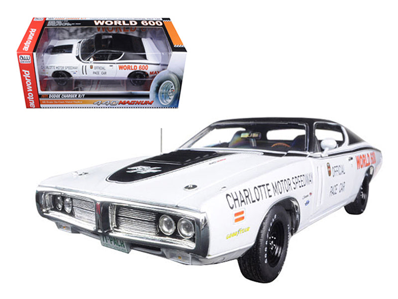 1971 Dodge Charger White Charlotte Motor Speedway World 600 Pace Car Limited Edition to 1002pc 1/18 Diecast Model Car by Autoworld - BeTovi&co
