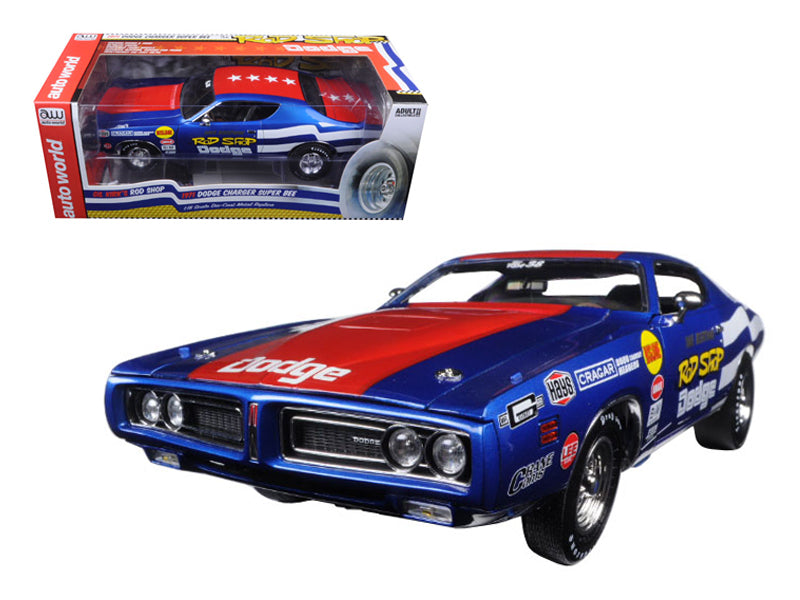 1971 Rod Shop Dodge Charger Super Bee David Boertman Limited Edition 1002pc 1/18 Diecast Model Car by Autoworld - BeTovi&co