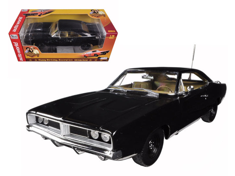 1969 Dodge Charger Black Happy Birthday General Lee 1/18 Diecast Model Car by Autoworld - BeTovi&co