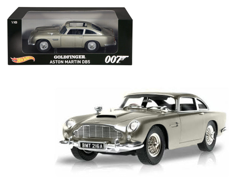 Aston Martin DB5 Silver James Bond 007 From 'Goldfinger' Movie 1/18 Diecast Model Car by Hotwheels - BeTovi&co