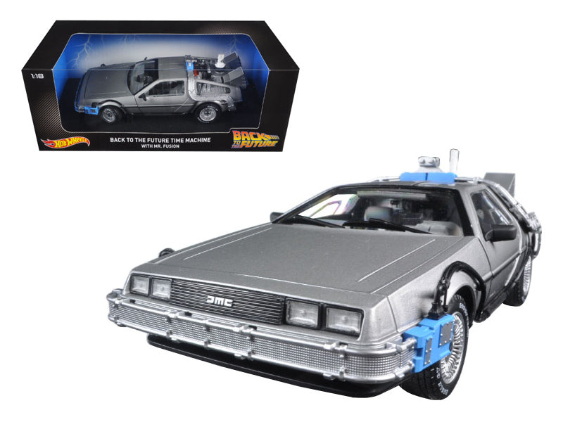 Back To The Future Time Machine Delorean with Mr. Fusion 1/18 Diecast Model Car by Hotwheels - BeTovi&co