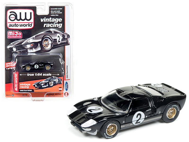 1965 Ford GT40 Black #2 Vintage Racing 1/64 Diecast Model Car by Autoworld - BeTovi&co