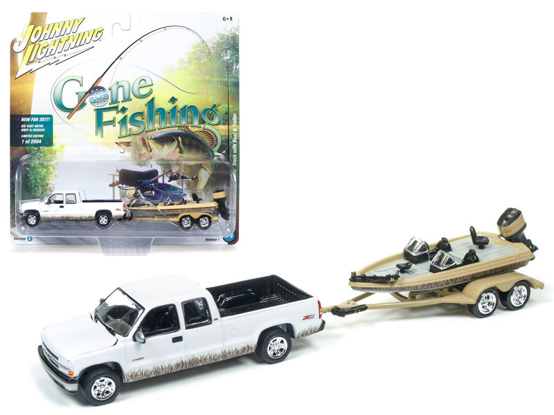 2002 Chevrolet Silverado Pickup Truck White with Boat and Trailer 'Gone Fishing' 1/64 Diecast Model Car by Johnny Lightning - BeTovi&co