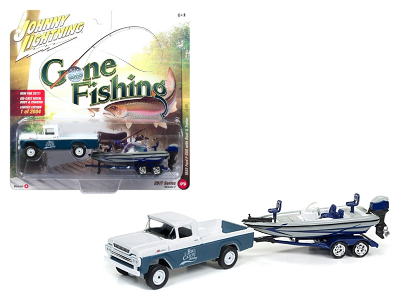 1959 Ford F-250 Pickup Truck Surf Blue Iridescent with Gloss White with Boat and Trailer 'Gone Fishing' 1/64 Diecast Model Car by Johnny Lightning - BeTovi&co