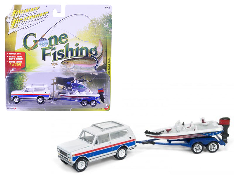 1979 International Scout Gloss White w/Red & Blue Stripes with Boat & Trailer 'Gone Fishing' Limited to 2508pc 1/64 Diecast Model Car by Johnny Lightning - BeTovi&co