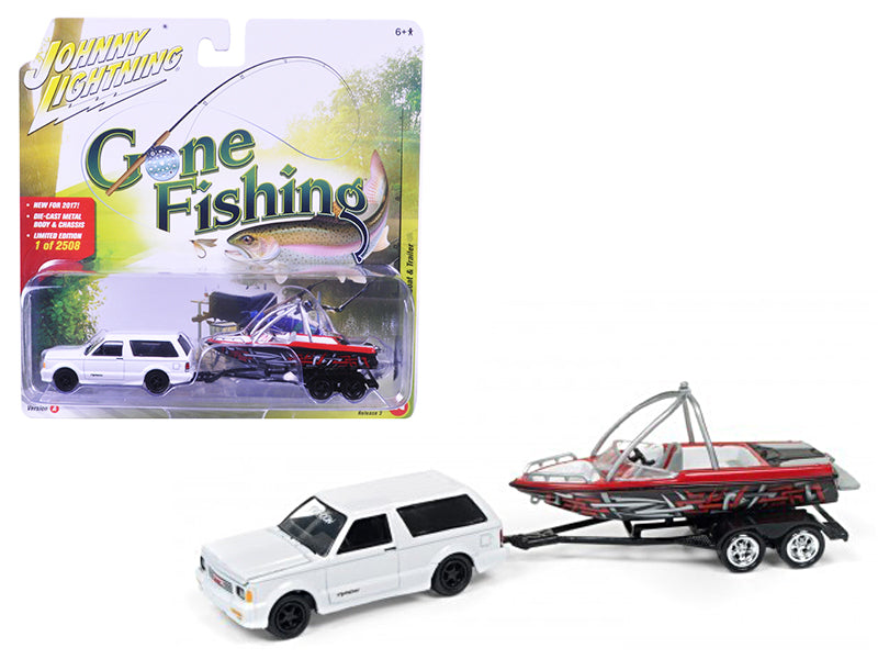1992 GMC Typhoon Gloss White with Boat & Trailer 'Gone Fishing' Limited to 2508pc 1/64 Diecast Model Car by Johnny Lightning - BeTovi&co